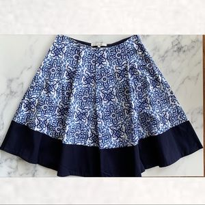 Milly Capri Blue Tile Print Cotton A Line Skirt